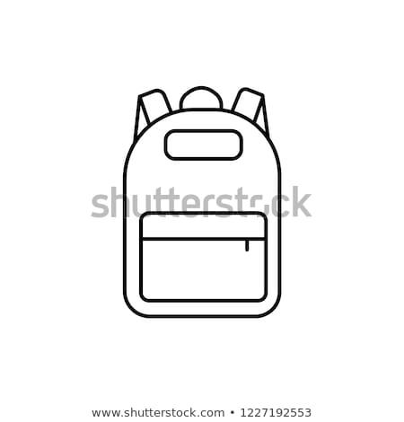 Stock fotó: Vektor · feketefehér · gyűjtemény · iskola · hátizsák · ikonok