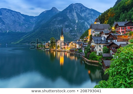 Stock fotó: Falu · alkonyat · klasszikus · kilátás · Alpok · Ausztria