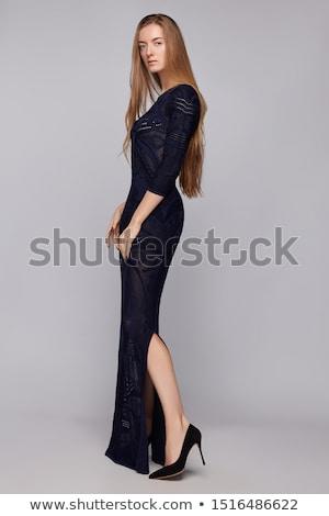 Ragazza abito da sera bella nero donna Foto d'archivio © svetography