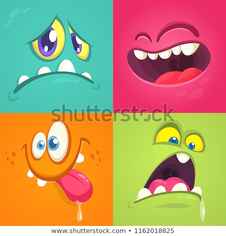 Conjunto engraçado desenho animado monstro faces praça Foto stock © Genestro