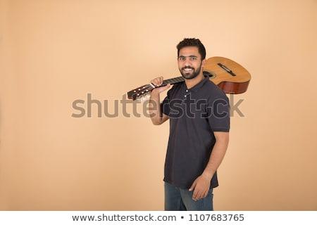 fiatal · hideg · gitáros · tart · gitár · váll - stock fotó © deandrobot