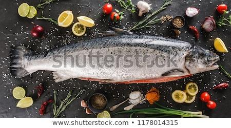 friss · pisztráng · citrom · tábla · fölött · kilátás - stock fotó © digifoodstock