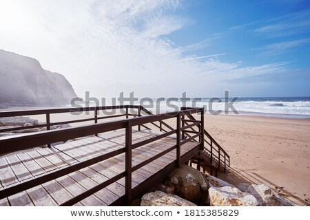 wooden stairs into water stock photo © simply