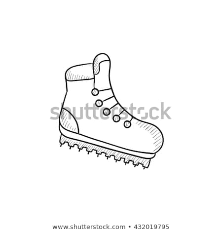 Hiking boot with crampons sketch icon. Stock photo © RAStudio
