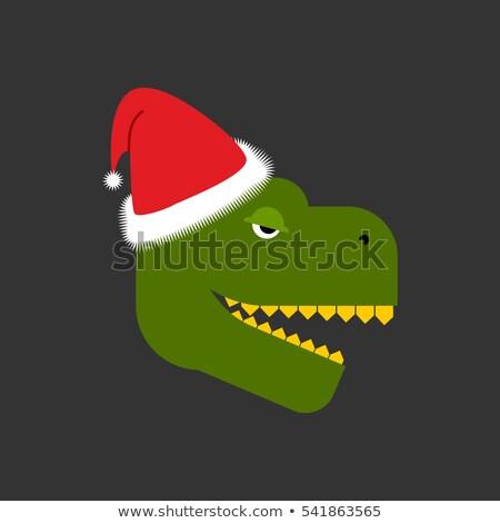 Dino Santa. Tyrannosaurus and Claus cap. Red hat and dinosaur. C Stock photo © popaukropa