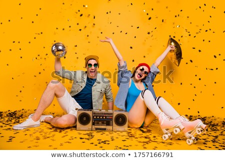 Couple with two rollers isolated Stock photo © deandrobot