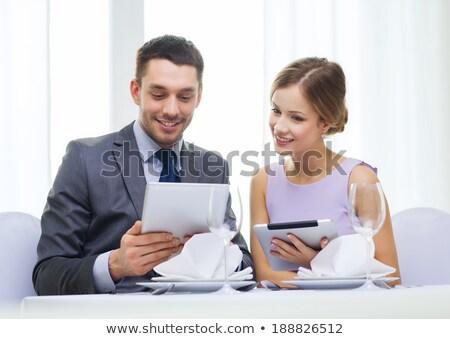 yakışıklı · çift · kalma · Internet · gülümseme · yüz - stok fotoğraf © dolgachov