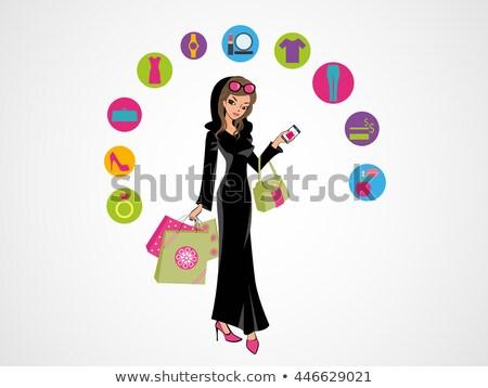 グラマラス アラブ 女性 立って 伝統的な ドレス ストックフォト © NikoDzhi