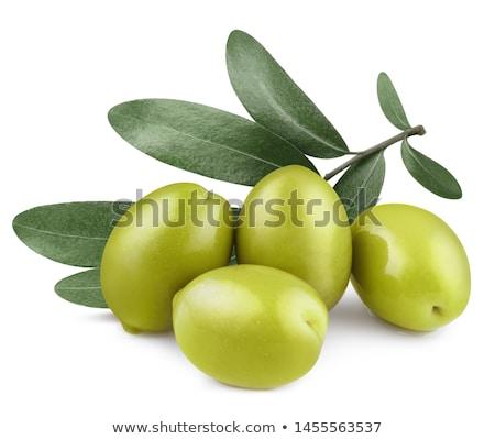 Friss zöld olajbogyók fehér egészséges három Stock fotó © Digifoodstock