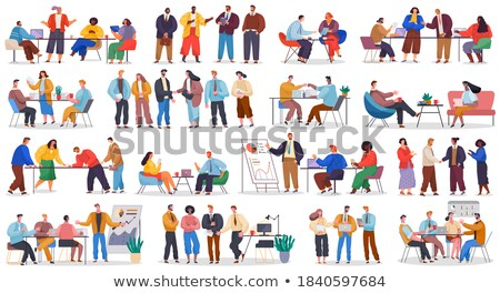 Meeting office icon. Managers at table. Boss and subordinates. B Stock photo © popaukropa