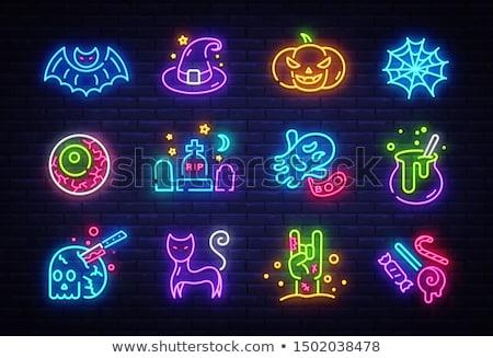 Mutlu halloween neon kafatasları kemikleri hızlı Stok fotoğraf © Voysla