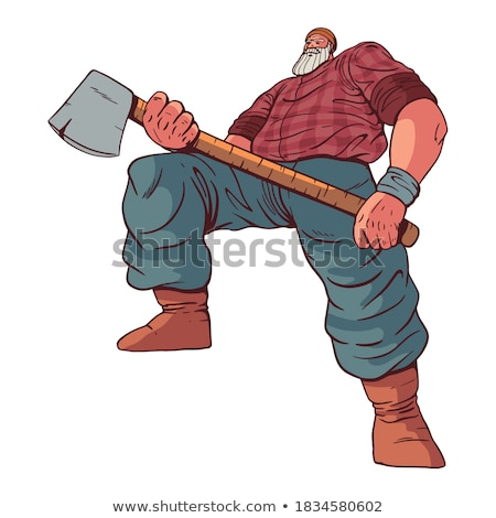 Lumberjack strong isolated. Woodcutter and axe. Big lumberman. f Stock photo © popaukropa