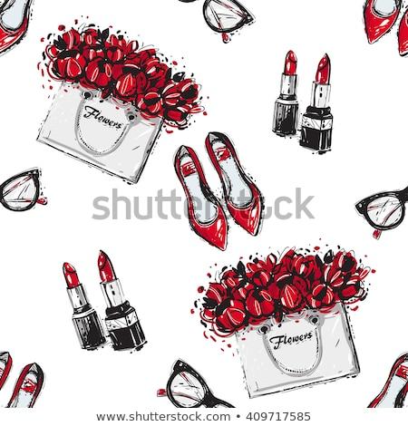 red women shoes seamless pattern fashion background stock photo © studiostoks