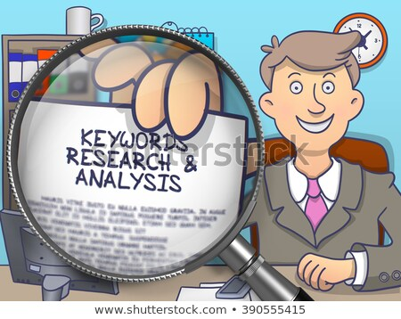Keywords Research through Magnifier. Doodle Style. Stock photo © tashatuvango