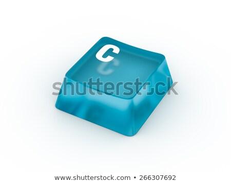 Controlling CloseUp of Blue Keyboard Button. 3D. Stock photo © tashatuvango