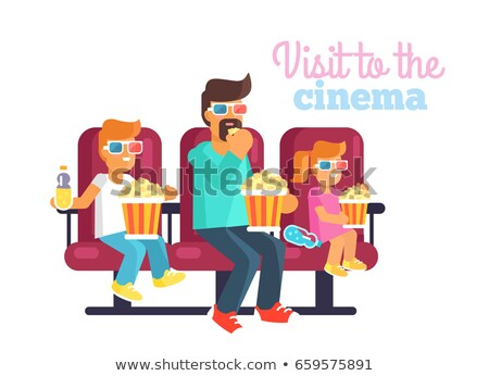 Visit to Cinema with Father Poster Illustration Stock photo © robuart