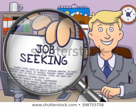Job Seeking through Magnifier. Doodle Style. Stock photo © tashatuvango