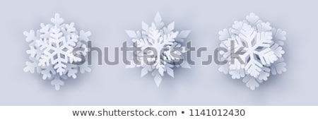3D flocons de neige ensemble bleu isolé Photo stock © kup1984