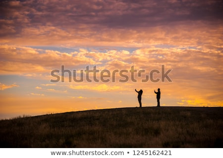 Dos ninas ladera nina hierba naturaleza Foto stock © IS2