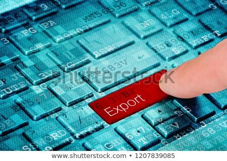 finger presses blue keyboard button export stock photo © tashatuvango