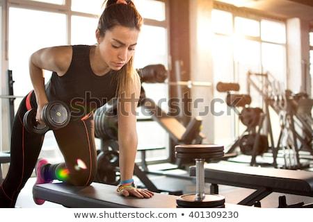 Stock fotó: Lány · tornaterem · sportos · színes · nadrág · fekete