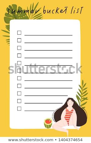 Vödör lista izolált fehér papír élet Stock fotó © compuinfoto