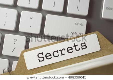 Tarjeta confidencial palabra amarillo carpeta Foto stock © tashatuvango