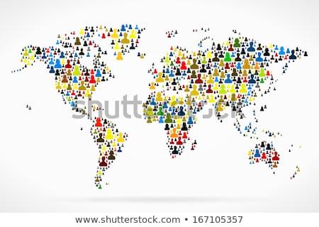 Vector world map with people avatars Stock photo © blumer1979