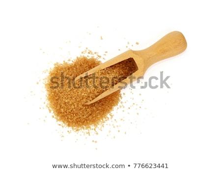 Barnacukor fából készült merítőkanál fehér konyha főzés Stock fotó © bdspn