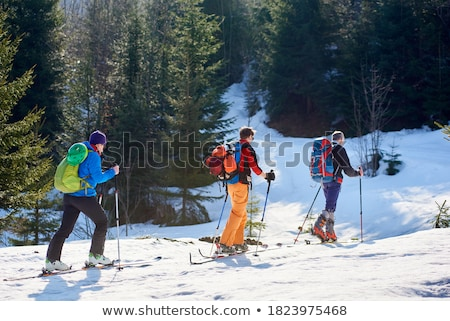 Skiers trekking through the snow Stock photo © IS2