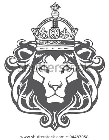 黒 · 立って · ライオン · 紋章学 · 入れ墨 · デザイン - ストックフォト © maryvalery