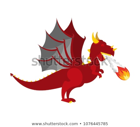 Red Dragon head. Mythical Monster with wings. Terrible huge beas Stock photo © popaukropa