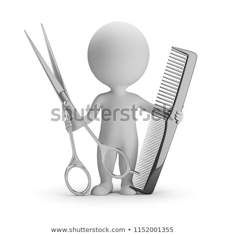 Stock photo: 3d small people - hairdresser with scissors and comb