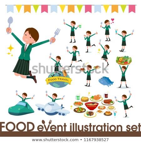 school girl Green Blazer_Meal stock photo © toyotoyo