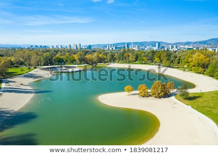 Bundek lake and city of Zagreb aerial autumn view Stock photo © xbrchx