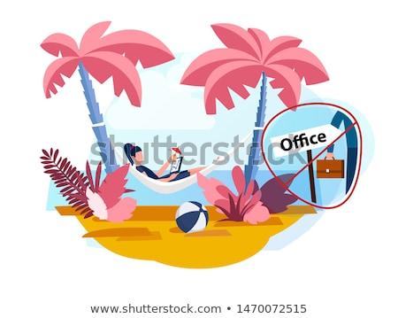 sos · eiland · palmbomen · afscheid · mensen · illustratie - stockfoto © robuart