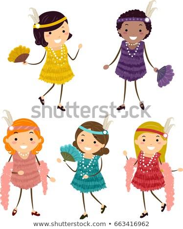 Stickman Kids Girls Flappers Costume Illustration Stock photo © lenm