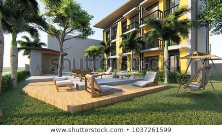 Fából készült otthon külső lakóövezeti fedett belső udvar Stock fotó © iriana88w