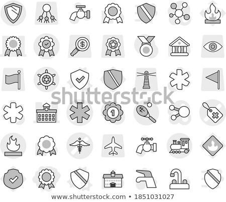 Brandbaar icon vlag geïsoleerd witte Stockfoto © daboost