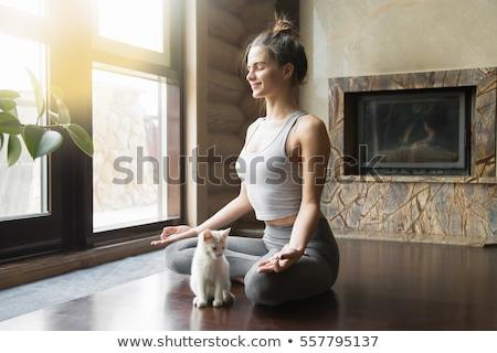 fiatal · lány · megnyugtató · jóga · pozició · otthon · nő - stock fotó © alphaspirit