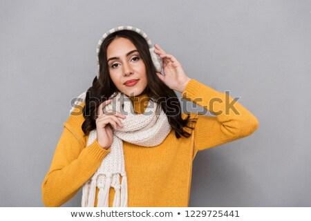 Portré imádnivaló nő visel fül sál Stock fotó © deandrobot