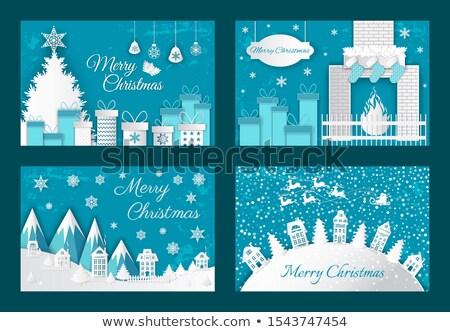 karácsony · kandalló · szoba · éjszaka · tűz · belső - stock fotó © robuart