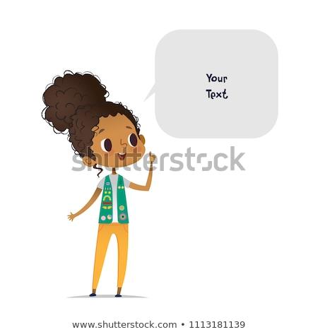ブルネット 少女 スカウト 文字 実例 幸せ ストックフォト © bluering