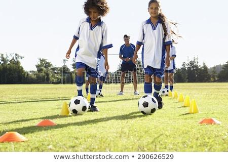 fiatalember · fiú · játszik · mező · égbolt · tavasz - stock fotó © lopolo