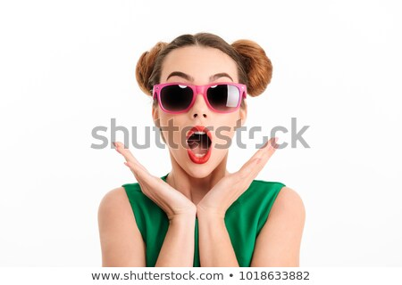 Esmer kız güneş gözlüğü ağız Stok fotoğraf © studiolucky