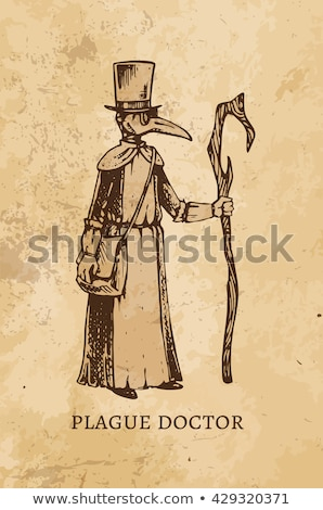 Stock photo: Sketch plague doctor head profile, with bird mask and hat