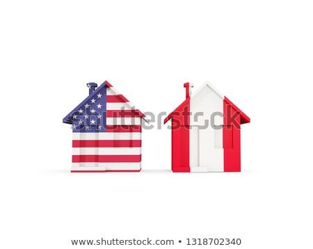 Dois casas bandeiras Estados Unidos Peru isolado Foto stock © MikhailMishchenko