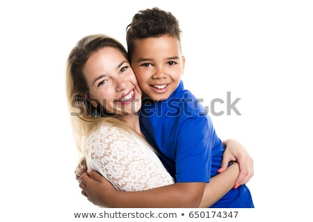 caucassian mother with child boy on studio white Stock photo © Lopolo