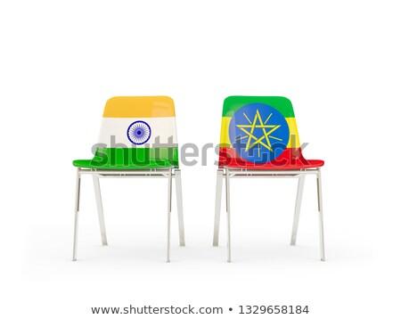 Deux chaises drapeaux Inde Ethiopie isolé Photo stock © MikhailMishchenko