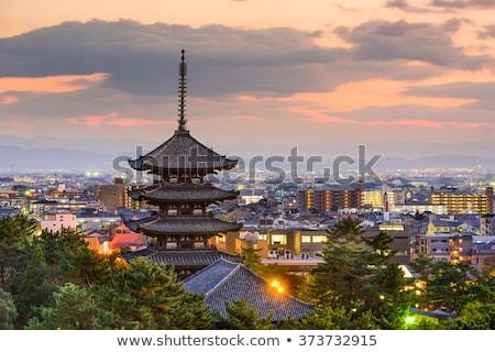 Budista templo Japão edifício pôr do sol viajar Foto stock © daboost